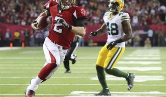 Atlanta Falcons' Matt Ryan runs for a touchdown during the first half of the NFL football NFC championship game against the Green Bay Packers, Sunday, Jan. 22, 2017, in Atlanta. (Curtis Compton/Atlanta Journal-Constitution via AP)