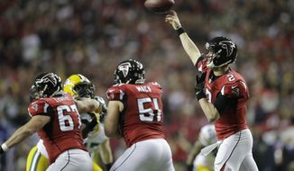 Atlanta Falcons' Matt Ryan throws during the first half of the NFL football NFC championship game against the Green Bay Packers, Sunday, Jan. 22, 2017, in Atlanta. (AP Photo/David Goldman)