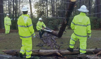 "At center, David Barnes, with Colquitt EMC, lunges backwards as a limb he has just cut snaps into the air from tension on downed power lines Sunday Jan. 22, 2017 in Valdosta, Ga. The National Weather Service said Sunday that southern Georgia, northern Florida and the corner of southeastern Alabama could face ""intense and long track"" tornadoes, scattered damaging winds and large hail. (AP Photo/Phil Sears)"