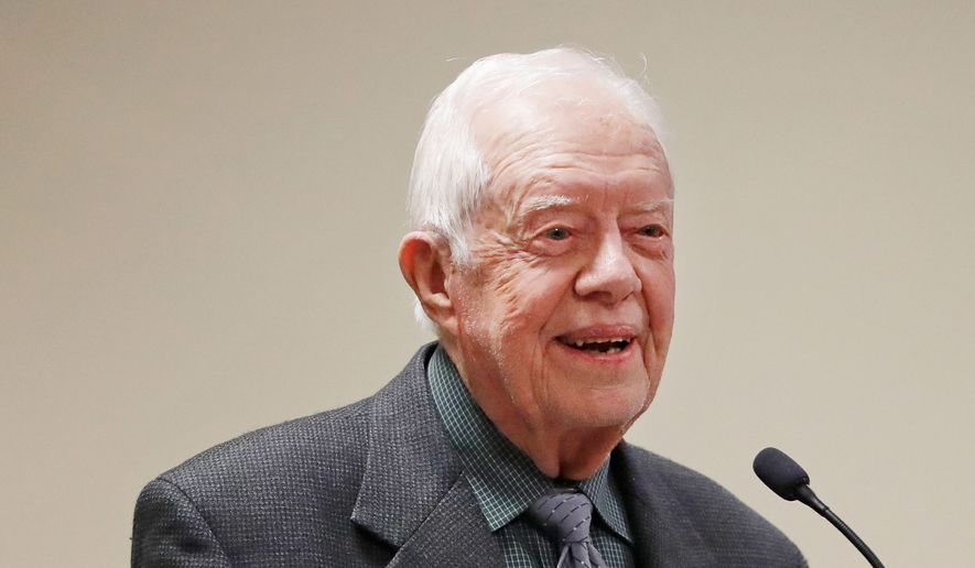 Former President Jimmy Carter speaks at a Baptist conference in Atlanta, Thursday, Sept. 15, 2016. (AP Photo/David Goldman)