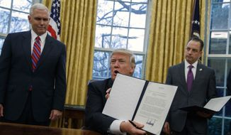 Vice President Mike Pence, left, and White House Chief of Staff Reince Priebus watch as President Donald Trump shows off an executive order to withdraw the U.S. from the 12-nation Trans-Pacific Partnership trade pact agreed to under the Obama administration, Monday, Jan. 23, 2017, in the Oval Office of the White House in Washington. (AP Photo/Evan Vucci) ** FILE **