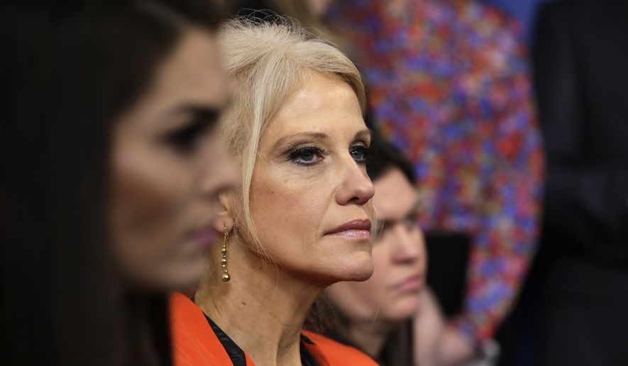 Counselor to President Kellyanne Conway listens during the daily White House briefing, Monday, Jan. 23, 2017, in the briefing room of the White House in Washington. (AP Photo/Evan Vucci)