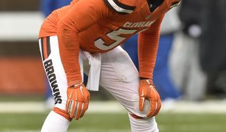 FILE - In this Nov. 20, 2016, file photo, Cleveland Browns outside linebacker Jamie Collins (51) lines up during an NFL football game against the Pittsburgh Steelers in Cleveland. The Cleveland Browns have signed linebacker Jamie Collins to a four-year contract. (AP Photo/David Richard, File)