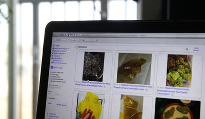 A few of the advertisements to sell marijuana online are seen on a Denver Craigslist page, on Monday, Jan. 23, 2017. Legal marijuana is widely for sale in Colorado, but a bill moving through the state Legislature aims to crack down on those who sell weed illegally using online ads such as Craigslist. A bill approved unanimously by the state Senate on Monday, Jan. 23, would make it a crime to advertise pot if the person doesn't have a license to sell the drug. (AP Photo/Brennan Linsley)