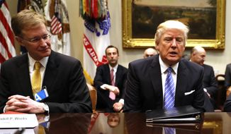 President Donald Trump meets with business leaders, Monday, Jan. 23, 2017, in the Roosevelt Room of the White House in Washington. (AP Photo/Pablo Martinez Monsivais)