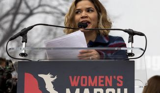 Actress America Ferrera speak to the crowd during the Women's March on Washington, Saturday, Jan. 21, 2017 in Washington. (AP Photo/Jose Luis Magana)
