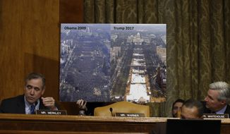Senate Budget Committee members Sen. Jeff Merkley, D-Ore., left, and Sen. Sheldon Whitehouse, D-R.I., flank a large photograph held up that shows and compares Inauguration crowd sizes in 2009 and 2017 as Merkley questions Budget Director-designate Rep. Mick Mulvaney, R-S.C., on Capitol Hill in Washington, Tuesday, Jan. 24, 2017, at Mulvaney's confirmation hearing before the committee. (AP Photo/Carolyn Kaster) ** FILE **