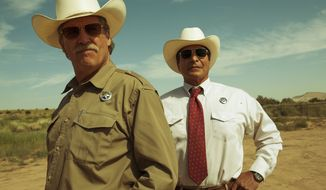 """This image released by CBS Films shows  Jeff Bridges, left, and Gil Birmingham in a scene from """"Hell or High Water."""" The film was nominated for an Oscar for best picture on Tuesday, Jan. 24, 2017.  The 89th Academy Awards will take place on Feb. 26. (Lorey Sebastian/CBS Films via AP)"""
