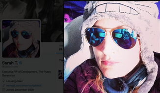 Sarah Thyre, actress and podcaster, is shown in this screen capture from her Twitter profile. (Twitter: @SarahThyre)