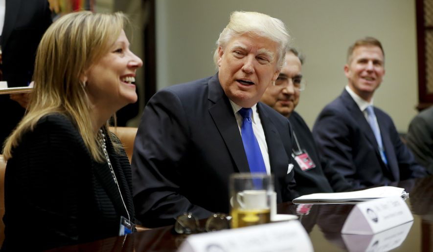 President Donald Trump, center, speaks at the start of a meeting with automobile leaders in the Roosevelt Room of the White House in Washington, Tuesday, Jan. 24, 2017. From left are, General Motors CEO Mary Barra, the president, Fiat Chrysler Automobiles CEO Sergio Marchionne, and Shane Karr, head of External Affairs, Fiat Chrysler Automobiles North America. (AP Photo/Pablo Martinez Monsivais)