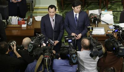 Assembly Speaker Anthony Rendon, D-Paramount, left, and Senate President Pro Tem Kevin de Leon, D-Los Angeles, meet with reporters to discuss Calif., Gov. Jerry Brown State of the State address given before joint session of the California Legislature Tuesday, Jan. 24, 2017, in Sacramento, Calif. (AP Photo/Rich Pedroncelli)
