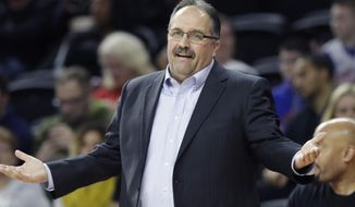 FILE - In this Monday, Jan. 23, 2017, file photo, Detroit Pistons head coach Stan Van Gundy looks towards the referees during the first half of an NBA basketball game against the Sacramento Kings in Auburn Hills, Mich. After finally returning to the playoffs last year in Van Gundy's second season as coach, the Pistons are having a surprisingly difficult time of it in 2016-17. (AP Photo/Carlos Osorio, File)