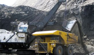 A shovel prepares to dump a load of coal into a 320-ton truck at the Arch Coal Inc.-owned Black Thunder mine in Wright, Wyo., on April 30, 2007. (Associated Press) **FILE**