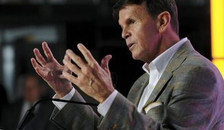 FILE -- In this Aug. 18, 2016 file photo, Tennessee athletic director Dave Hart announces his retirement in Knoxville, Tenn. Hart says he isn't offering any recommendations regarding his potential successor but has confidence in the people making that choice. Hart announced in August that he was stepping down. His retirement takes effect June 30, though he could leave sooner depending on when his replacement is selected. (Michael Patrick/Knoxville News Sentinel via AP, File)