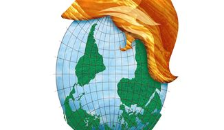 Illustration on the world turned upside-down since Trump's victory by Greg Groesch/The Washington Times