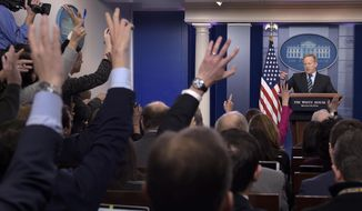 White House press secretary Sean Spicer faces the press during the daily briefing at the White House on Wednesday. (Associated Press)