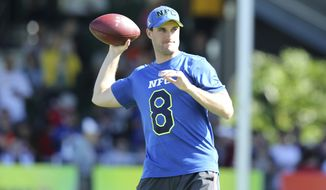 Washington Redskins Kirk Cousins #8 is seen at the NFC Practice on Wednesday January 25, in Lake Buena Vista, FL. (AP Photo/Gregory Payan)