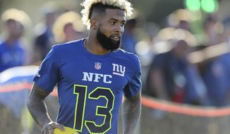 New York Giants Odell Beckham Jr. (13) competes in the Epic Pro Dodgeball event at the 2017 Pro Bowl Skills Challenge on Wednesday, Jan. 25, 2017 in Lake Buena Vista, Fla. (AP Photo/Gregory Payan)
