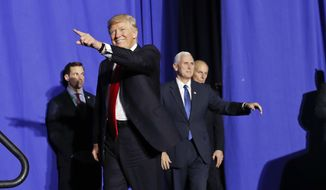 President Donald Trump, accompanied by Vice President Mike Pence, center, and Homeland Security Secretary John F. Kelly, right, gestures as he is introduced before speaking at the Homeland Security Department in Washington, Wednesday, Jan. 25, 2017. (AP Photo/Pablo Martinez Monsivais)