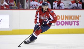 Washington Capitals right wing T.J. Oshie (77) skates with the puck during the second period of an NHL hockey game against the Carolina Hurricanes, Monday, Jan. 23, 2017, in Washington. (AP Photo/Nick Wass)