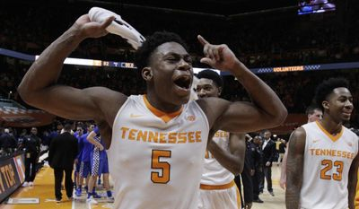 Tennessee forward Admiral Schofield (5) celebrates after Tennessee defeated Kentucky 82-80 in an NCAA college basketball game Tuesday, Jan. 24, 2017, in Knoxville, Tenn. (AP Photo/Wade Payne)