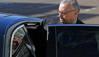 Former Maricopa County Sheriff Joe Arpaio steps in to the back of a car after leaving U.S. District Court following his latest hearing in the criminal contempt-of-court case against him for violating a judge's orders in a racial profiling case Wednesday, Jan. 25, 2017, in Phoenix. (AP Photo/Ross D. Franklin)