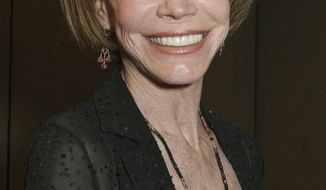 FILE - This Sept. 19, 2015, file photo shows Mary Tyler Moore at the 26th Annual News and Documentary Emmy Awards ceremony in New York. Moore died Wednesday, Jan. 25, 2017, at age 80. (AP Photo/Tina Fineberg, File)
