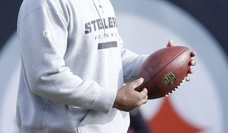 FILE-- This file photo from Jan. 13, 2017 shows Pittsburgh Steelers linebackers coach Joey Porter during NFL football practice in Pittsburgh. The director of the Pittsburgh Police Citizens Review Board says video of the arrest of Steelers assistant coach Joey Porter on Jan. 8, 2017, supports an officer's version of the events, including that Porter grabbed the officer's wrists, rendering him defenseless. (AP Photo/Keith Srakocic, File)