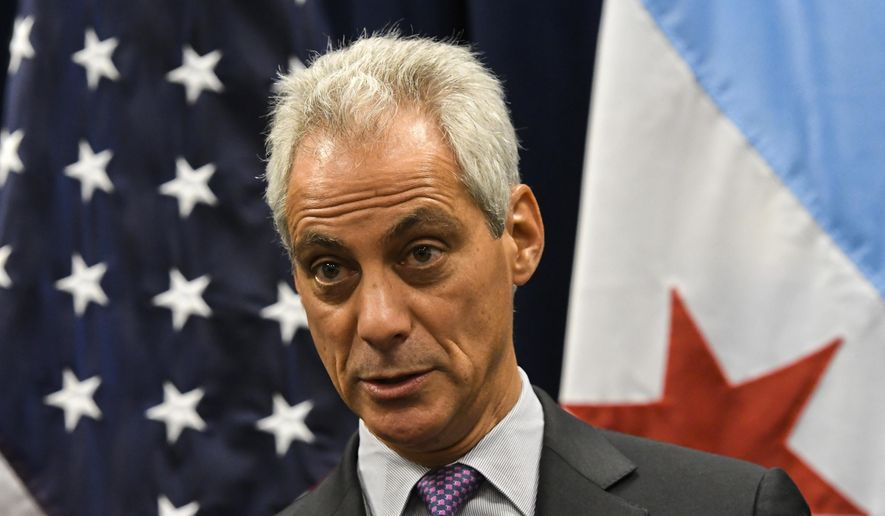 Chicago Mayor Rahm Emanuel speaks during a press conference where sanctuary cities, which don't arrest or detain immigrants living in the U.S. illegally, and Chicago violence, two issues raised by President Donald Trump, were discussed on Wednesday, Jan. 25, 2017, in Chicago. (AP Photo/Matt Marton) ** FILE **