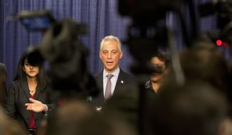 "FILE - In this Jan. 13, 2017, file photo, Chicago Mayor Rahm Emanuel answers questions during a news conference in Chicago after the the U.S. Justice Department issued a report on civil rights abuses by the Chicago Police Department. In a tweet Tuesday night, Jan. 24, 2017, President Donald Trump said he's ready to ""send in the Feds"" if Chicago can't reduce its homicide figures. (AP Photo/Teresa Crawford, File)"
