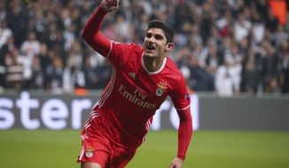 FILE - In this file photo dated Wednesday, Nov. 23, 2016, Benfica's Goncalo Guedes, celebrates after scoring against Besiktas, during their Champions League Group B soccer match, in Istanbul.  Paris Saint-Germain has signed 20-year old winger Guedes from Portuguese side Benfica, according to an announcement on PSG website Wednesday Jan. 25, 2017. (AP Photo)