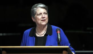 FILE - In this April 29, 2016 file photo, University of California President Janet Napolitano speaks at Shasta College in Redding, Calif. The University of California's governing board opens a two-day meeting Wednesday, Jan. 25, 2017, where the key issue is a tuition hike proposed by Napolitano, who recently was hospitalized for side effects from cancer treatment. (Greg Barnette/The Record Searchlight via AP, File)