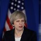 Speaking at the GOP retreat, British Prime Minister Theresa May echoed President Trump's criticism that U.S. allies do not pay their fair share for defense. (Associated Press)