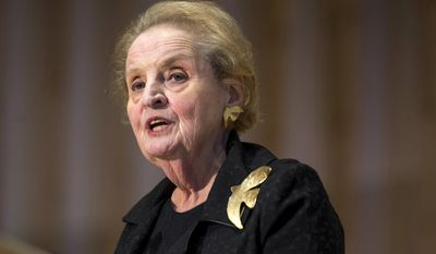 In this Oct. 6, 2016, file photo, former U.S. Secretary of State Madeleine Albright speaks during a memorial service for former Israel Prime Minister Shimon Peres at Adas Israel Congregation in Washington. Albright tweeted on Jan. 25, 2017, that she is ready to register as Muslim as a show of solidarity. (AP Photo/Zach Gibson, File)