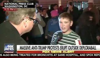A young boy who gained viral fame after telling a Fox News reporter that he helped create a street fire during anti-Donald Trump protests last week turned out to be Drew Carey's 11-year-old son Connor, TMZ reported Thursday. (Fox News)