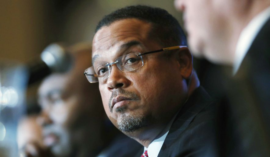 U.S. Rep. Keith Ellison, D-Minn., listens during a forum on the future of the Democratic Party, in Denver in this Dec. 2, 2016, file photo. (AP Photo/David Zalubowski, File) ** FILE **