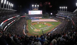 FILe - In this Oct. 25, 2016, file photo, fireworks are seen over Progressive Field before Game 1 of the Major League Baseball World Series between the Cleveland Indians and the Chicago Cubs, in Cleveland. A person familiar with the decision says the Cleveland Indians will host the 2019 All-Star Game at Progressive Field. The team will hold a news conference on Friday, Jan. 27, 2017,  to formally announce the event last held in Cleveland in 1997, the person told The Associated Press on Thursday, speaking on condition of anonymity because the announcement had not been made. (AP Photo/Gene J. Puskar, File)
