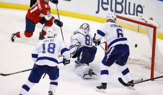 Florida Panthers center Jonathan Marchessault (81) scores against Tampa Bay Lightning goalie Andrei Vasilevskiy (88) defenseman Anton Stralman (6) and left wing Ondrej Palat (18) during an overtime period of an NHL hockey game, Thursday, Jan. 26, 2017, in Sunrise, Fla. The Panthers defeated the Lightning 2-1 in overtime. (AP Photo/Wilfredo Lee)