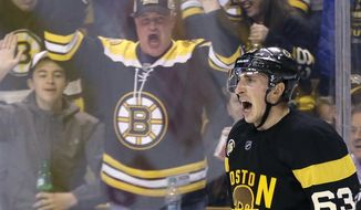 Fans react along with Boston Bruins left wing Brad Marchand (63) after his goal during the second period of the team's NHL hockey game against the Pittsburgh Penguins, Thursday, Jan. 26, 2017, in Boston. (AP Photo/Elise Amendola)