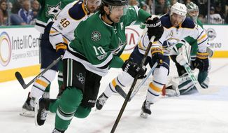 Dallas Stars left wing Patrick Sharp (10) takes control of the puck in front of Buffalo Sabres' William Carrier (48) and Cal O'Reilly (19) during the second period of an NHL hockey game, Thursday, Jan. 26, 2017, in Dallas. (AP Photo/Tony Gutierrez)