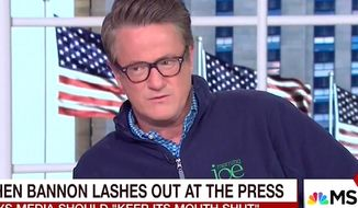 "MSNBC'S  Joe Scarborough predicted on Friday, Jan. 27, 2017, that President Donald Trump will be ""crushed"" by the media unless his administration changes its behavior towards journalists. (MSNBC screenshot)"