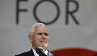 Vice President Mike Pence pauses while speaking at the March for Life on the National Mall in Washington, Friday, Jan. 27, 2017. (AP Photo/Manuel Balce Ceneta)