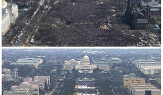 FILE- This pair of photos shows a view of the crowd on the National Mall at the inaugurations of President Barack Obama, above, on Jan. 20, 2009, and President Donald Trump, below, on Jan. 20, 2017. The photo above and the screengrab from video below were both shot shortly before noon from the top of the Washington Monument. On his first full day in office, President Donald Trump called the acting director of the National Park Service to dispute widely circulated photos of Trump's inauguration. (AP Photo, File)