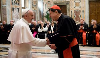 Pope Francis meets Brazilian Cardinal Joao Braz de Aviz, at the Clementine Hall, at the Vatican Saturday, Jan. 28, 2017. Pope Francis says hes concerned about the hemorrhage of priests and nuns from the Catholic church. Francis on Saturday told participants at a Vatican gathering to discuss religious life that loss of clergy weakens the church. (L'Osservatore Romano/Pool Photo via AP)