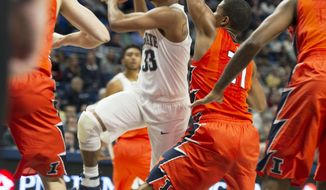 Penn State guard Shep Garner goes in for a layup against Illinois during an NCAA college basketball game Saturday, Jan 28, 2017, in State College, Pa. (Phoebe Sheehan/Centre Daily Times via AP)