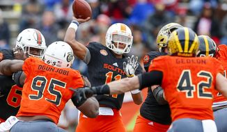 South squad quarterback Josh Dobbs of Tennessee (11) throws a pass against the North squad during the first half of the Senior Bowl NCAA college football game, Saturday, Jan. 28, 2017, at Ladd-Peebles Stadium in Mobile, Ala. (AP Photo/Butch Dill)