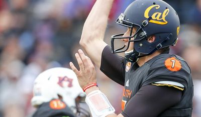 South squad quarterback Davis Webb of California (7) throws a pass against the North squad during the first half of the Senior Bowl NCAA college football game, Saturday, Jan. 28, 2017, at Ladd-Peebles Stadium in Mobile, Ala. (AP Photo/Butch Dill)