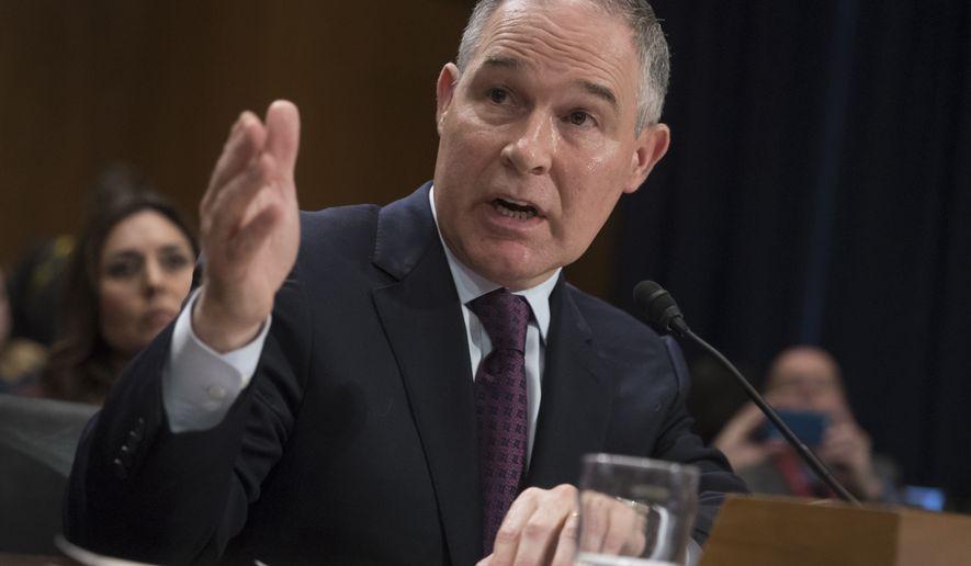 Environmental Protection Agency Administrator-designate, Oklahoma Attorney General Scott Pruitt testifies on Capitol Hill in Washington at his confirmation hearing before the Senate Environment and Public Works Committee on Jan. 18, 2017. (Associated Press) **FILE**