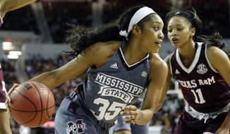 Mississippi State forward Victoria Vivians (35) dribbles past Texas A&M guard Curtyce Knox (11) in the first half of an NCAA college basketball game in Starkville, Miss., Sunday, Jan. 29, 2017. (AP Photo/Rogelio V. Solis)