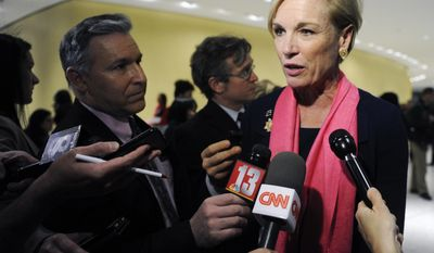 Cecile Richards, President of the Planned Parenthood Federation of America, talks with reporters during the Family Planning Advocates' 2017 Day of Action Rally on Monday, Jan. 30, 2017, in Albany, N.Y. (AP Photo/Hans Pennink)